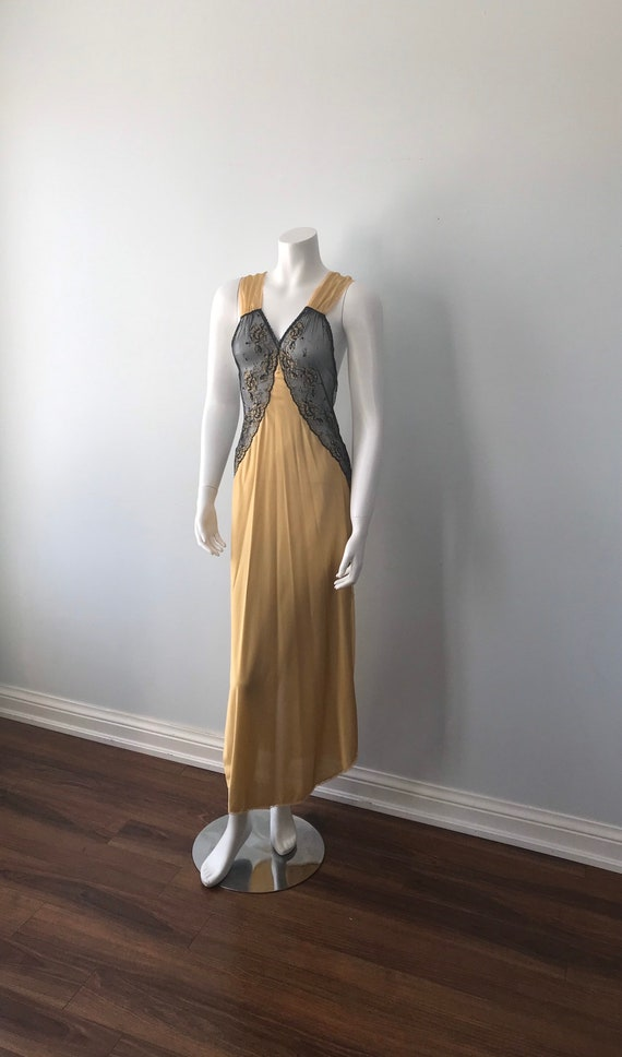 Vintage Nightgown, Luxite, 1950s Nightgown, Gold … - image 5