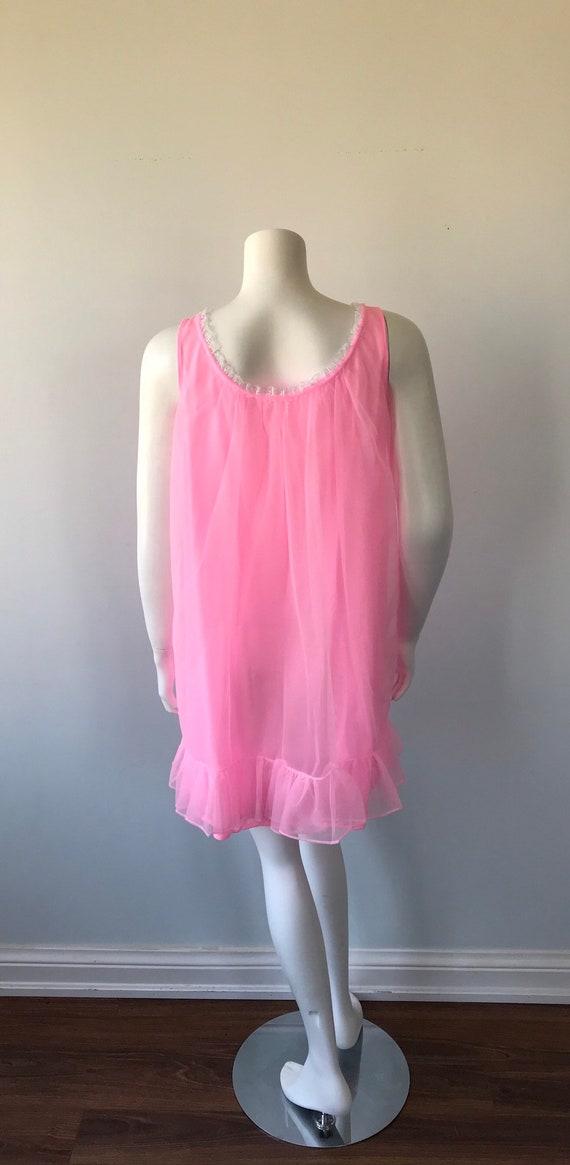 Vintage Pink Chiffon Nightgown, Hamilton Lingerie… - image 6