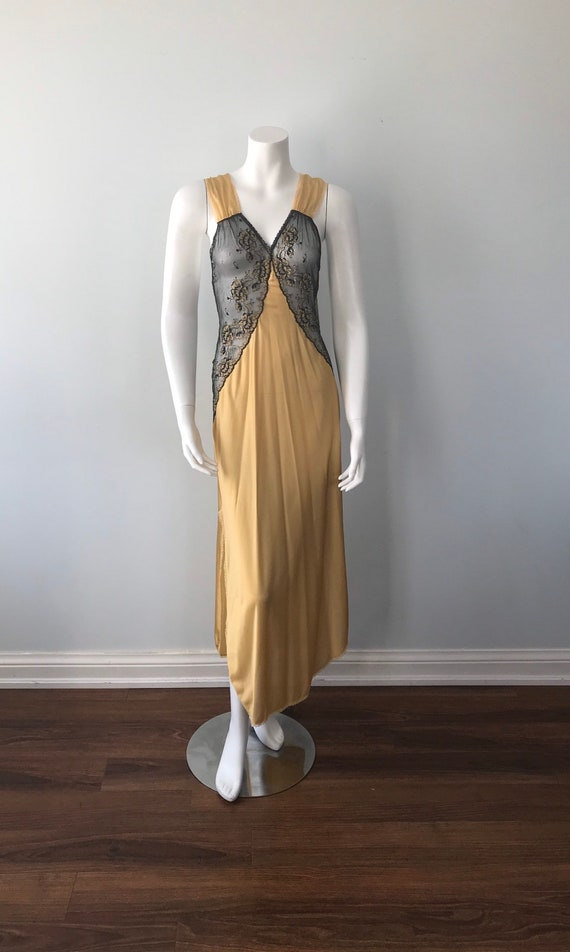 Vintage Nightgown, Luxite, 1950s Nightgown, Gold … - image 2