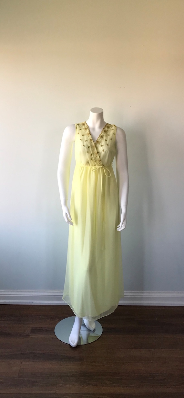 Vintage Yellow Chiffon Nightgown, Slumber Suzy, 1… - image 2