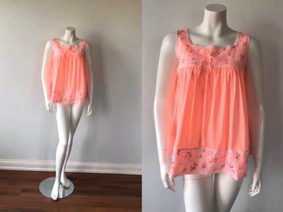 Vintage Babydoll Nightgown, Coral Pink Babydoll, S