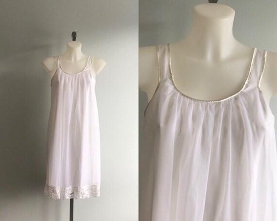 Vintage White Chiffon Nightgown, White Chiffon Nig