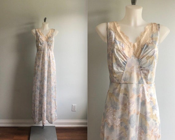 Vintage Nightgown, Vintage Floral Nightgown, 1970s