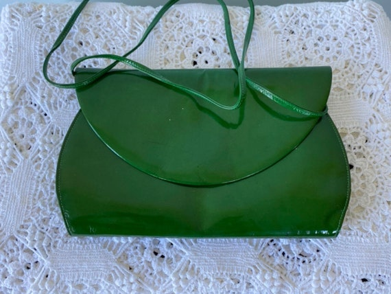 Vintage Green Patent Clutch, 1960s Green Handbag,