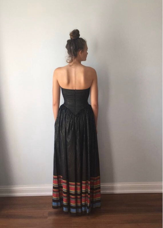 Vintage 1970s Maxi Dress, Strapless Maxi Dress, B… - image 7