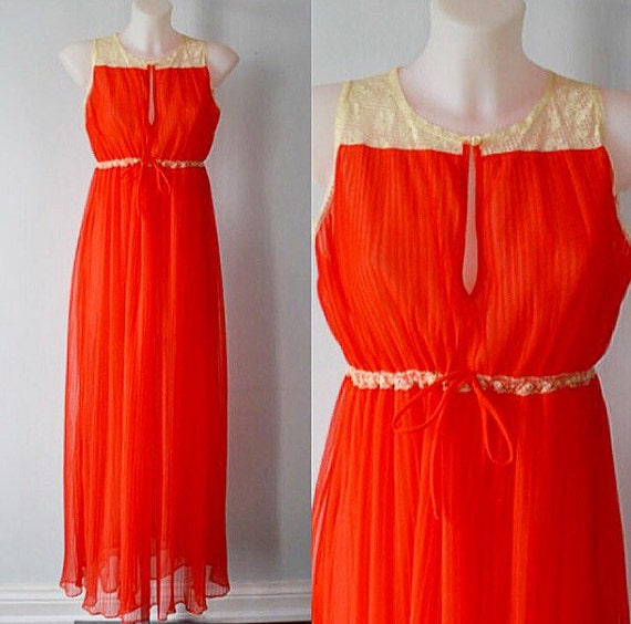 Vintage Crystal Pleated Red Nightgown, 1950s Night