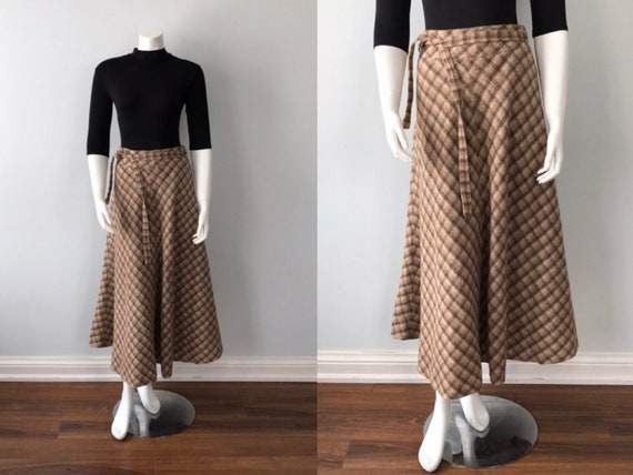 Vintage Plaid Tea Length Skirt, Maxi Skirt, Vintag