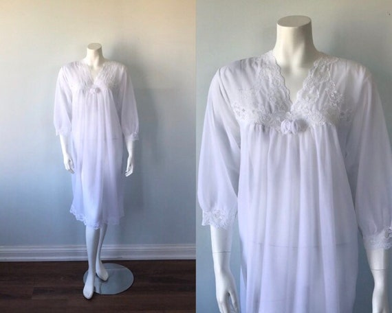 Vintage White Double Chiffon Nightgown, 1970s Nigh