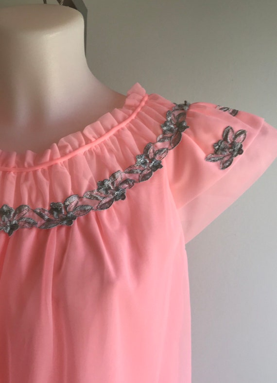 1960s Pink Chiffon Nightgown, Canadian Maid, 1960… - image 4