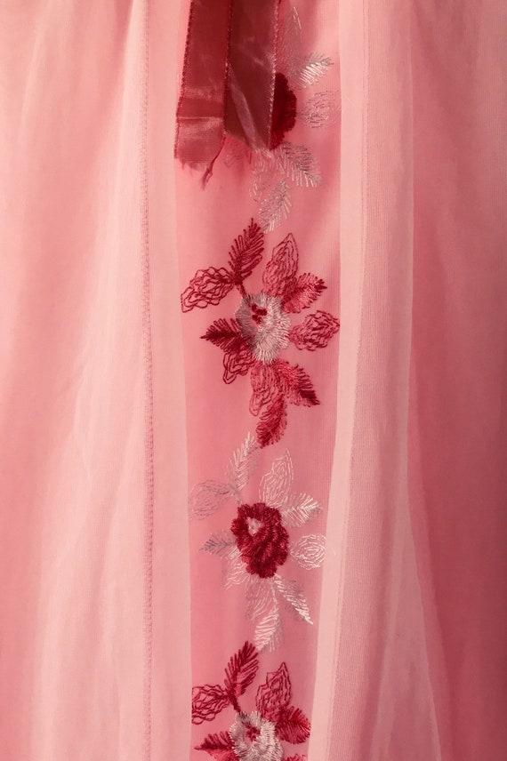 Vintage Pink Chiffon Nightgown, 1960s Pink Nightg… - image 5