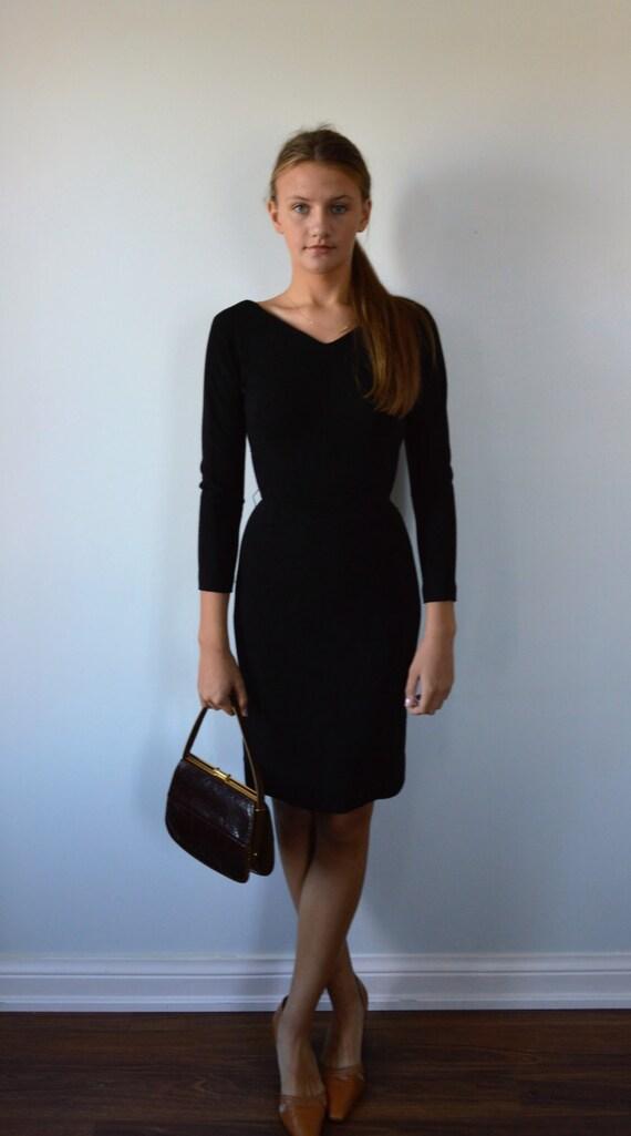 Vintage Black Dress, 1950s Black Dress, Black Coc… - image 2