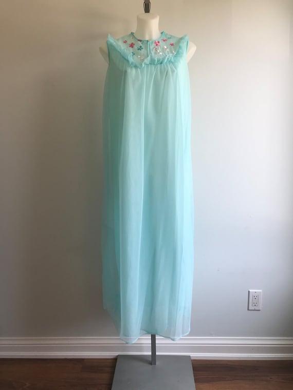 Vintage Nightgown, Vintage Chiffon Nightgown, Aqu… - image 2