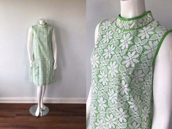 Vintage White Floral Lace Dress, Lace Dress, 1960s