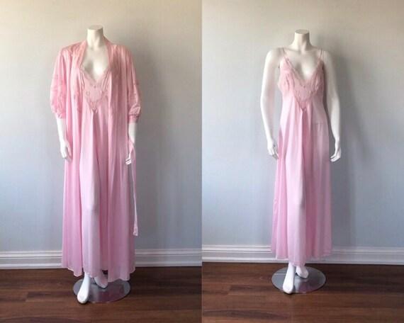 Vintage Pink Peignoir Set, Pink Peignoir Set, Lov