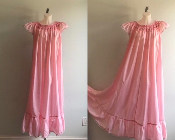 Vintage Nightgown, Pink Nightgown, 1970s Nightgown