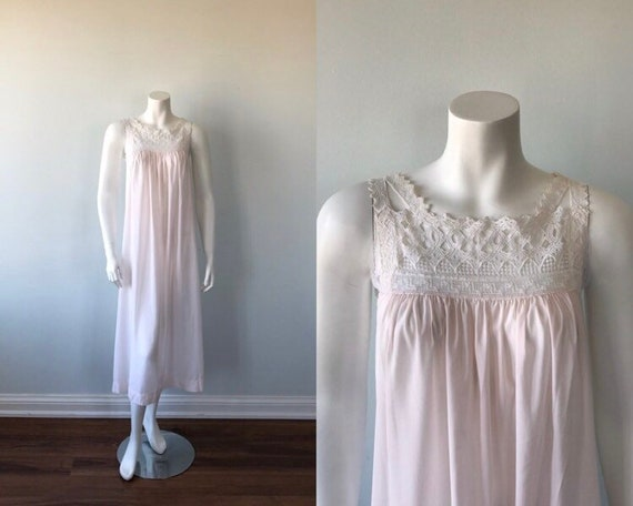 Vintage Christian Dior Nightgown, Pink Nightgown,