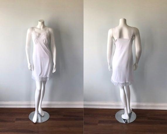1960s White Full Slip, Vintage White Slip, White F