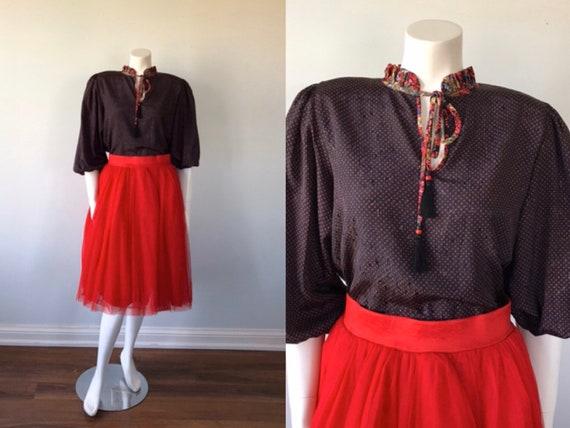 Vintage Diane Fres Blouse, Vintage Blouse, Black w