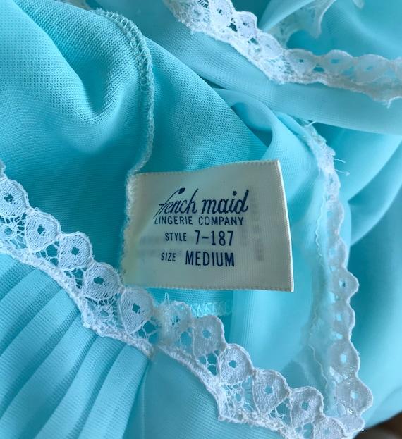 Vintage Chiffon Nightgown, French Maid, Blue Nigh… - image 9