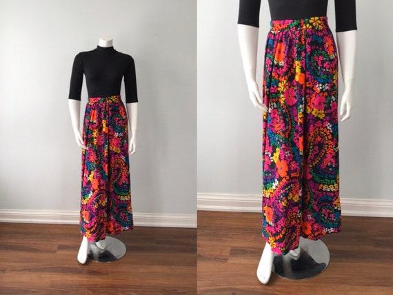 Vintage Floral Maxi Skirt, Pant-Man, 1960s Maxi Sk