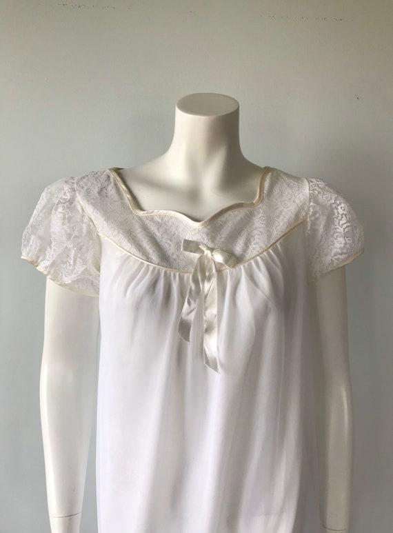 Vintage Whte Chiffon Nightgown, White Chiffon Nig… - image 3