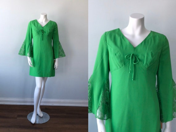 Vintage 1960s Mini Dress, Green Bell Sleeve Mini D