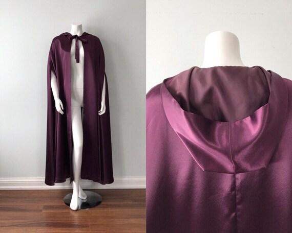 Vintage Purple Cape, Purple Satin Cape, Vintage La