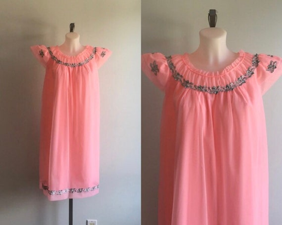 1960s Pink Chiffon Nightgown, Canadian Maid, 1960s