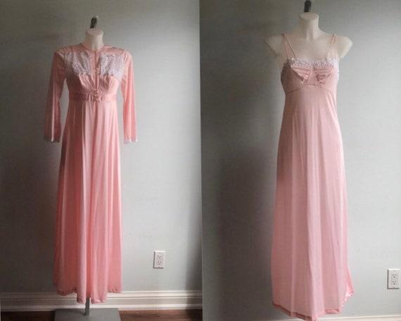 Molyclair, Vintage Pink Peignoir Set, Pink Peignoi