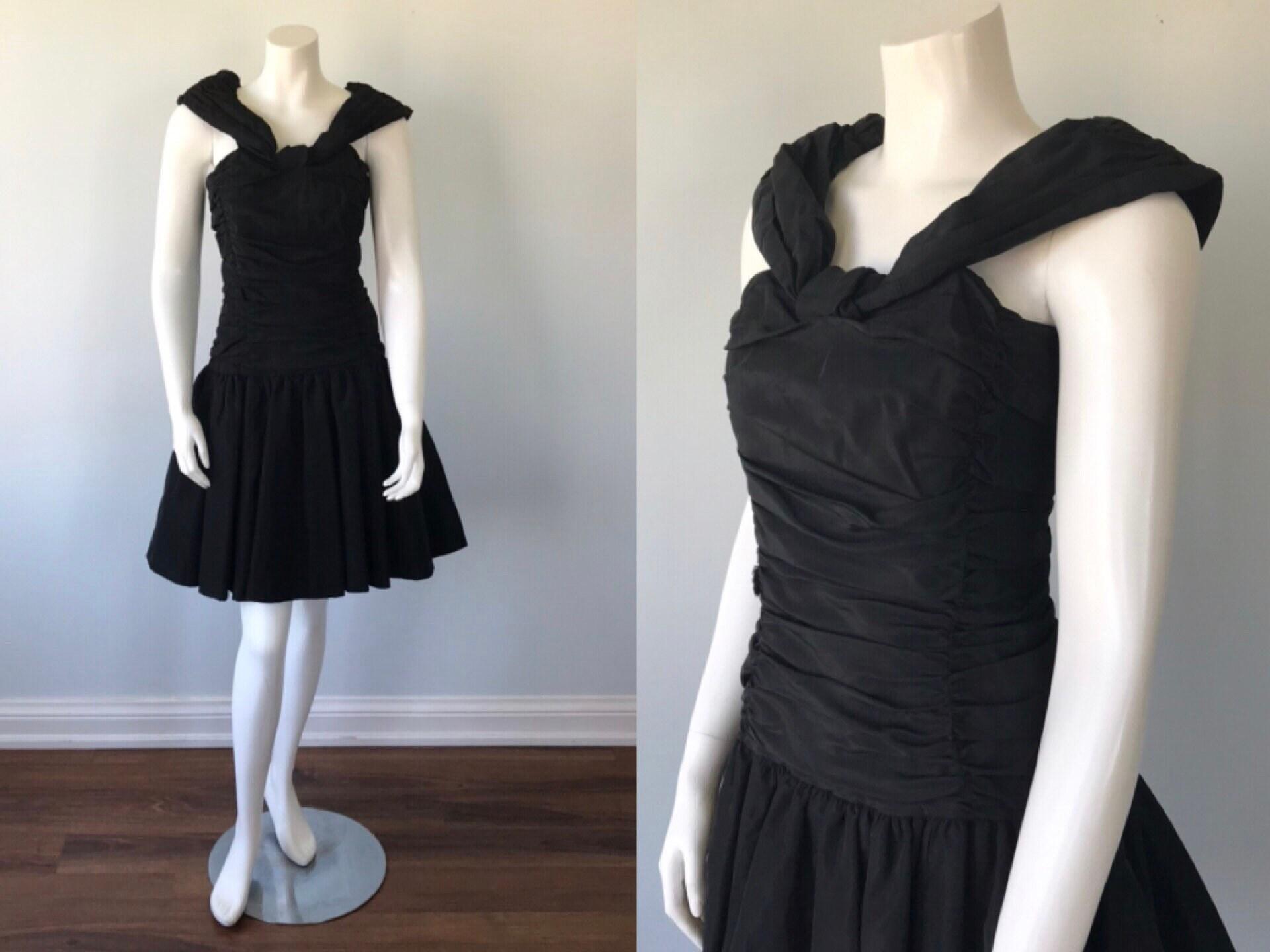 80s Dresses | Casual to Party Dresses Vintage 1980S Laura Ashley Black Cocktail Dress. Dress, Ashley, Wedding, Dress $54.60 AT vintagedancer.com