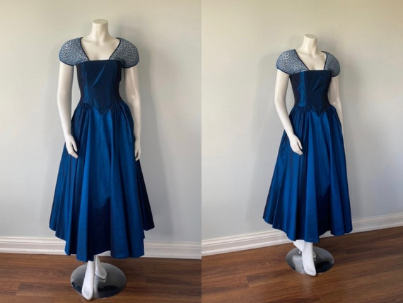 1950s Blue Taffeta Gown, Vintage Blue Taffeta Gown
