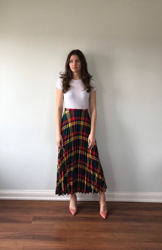 Vintage Plaid Pleated Skirt, 1960s Skirt, Pleated… - image 3