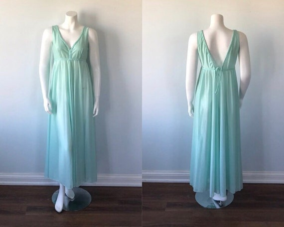 Vintage Mint Green Nightgown, 1970s Nightgown, Lin