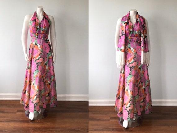 Vintage 1970s Myra Originals Halter Dress with Sha