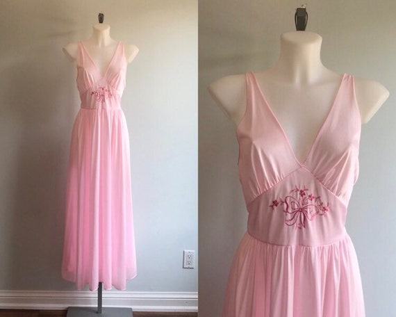 Vintage Pink Nightgown, 1970s Nightgown, Lov Lee,