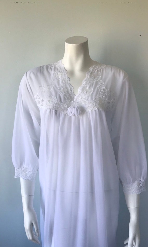 Vintage White Double Chiffon Nightgown, 1970s Nig… - image 3