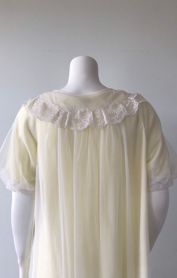 Vintage Chiffon Nightgown, St Michael, Pale Yello… - image 9