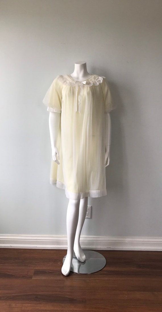 Vintage Chiffon Nightgown, St Michael, Pale Yello… - image 2