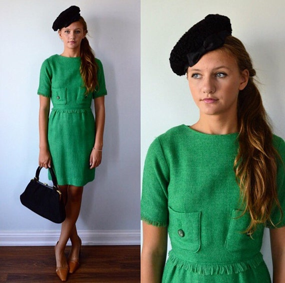 Vintage Green Wool Dress, 1960s Dress, Casual Dres