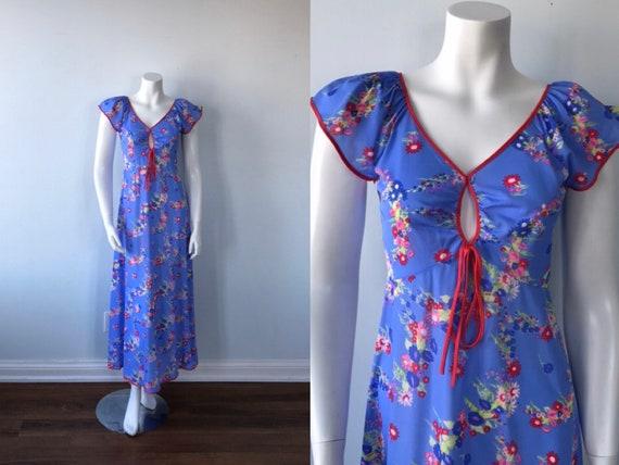 Vintage Blue Floral Nightgown, Silfra, Vintage Nig
