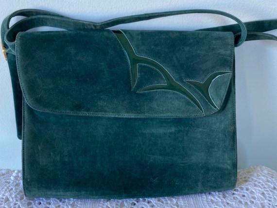 Vintage Green Suede Handbag, Bally, Vintage Handba