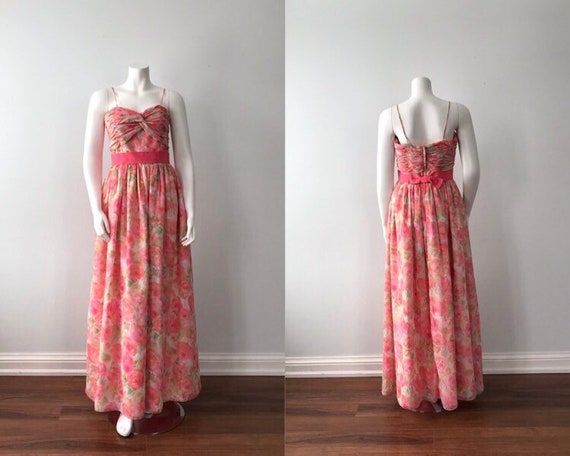 Vintage Floral Chiffon Evening Gown, Joy Cherry, V