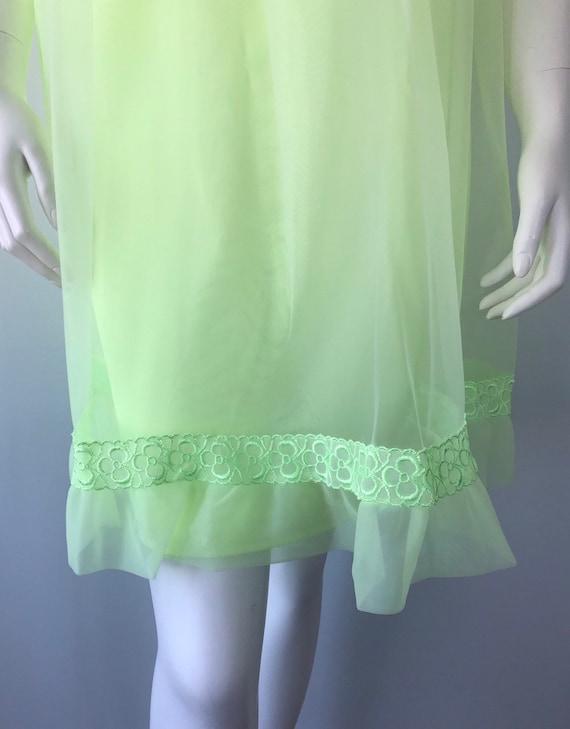 Vintage Florescent Green Short Chiffon Nightgown,… - image 4