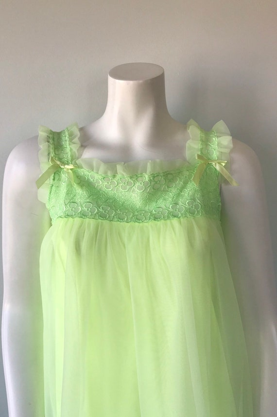 Vintage Florescent Green Short Chiffon Nightgown,… - image 3