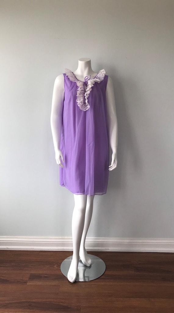 Vintage Chiffon Nightgown, Dorsay, Purple Chiffon… - image 2