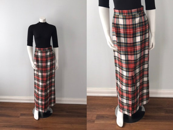 Vintage Plaid Maxi Skirt, Mister Leonard, 1970s M… - image 1