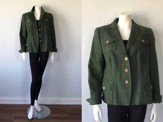 Vintage Green Wool Jacket, Vintage Green Blazer, A