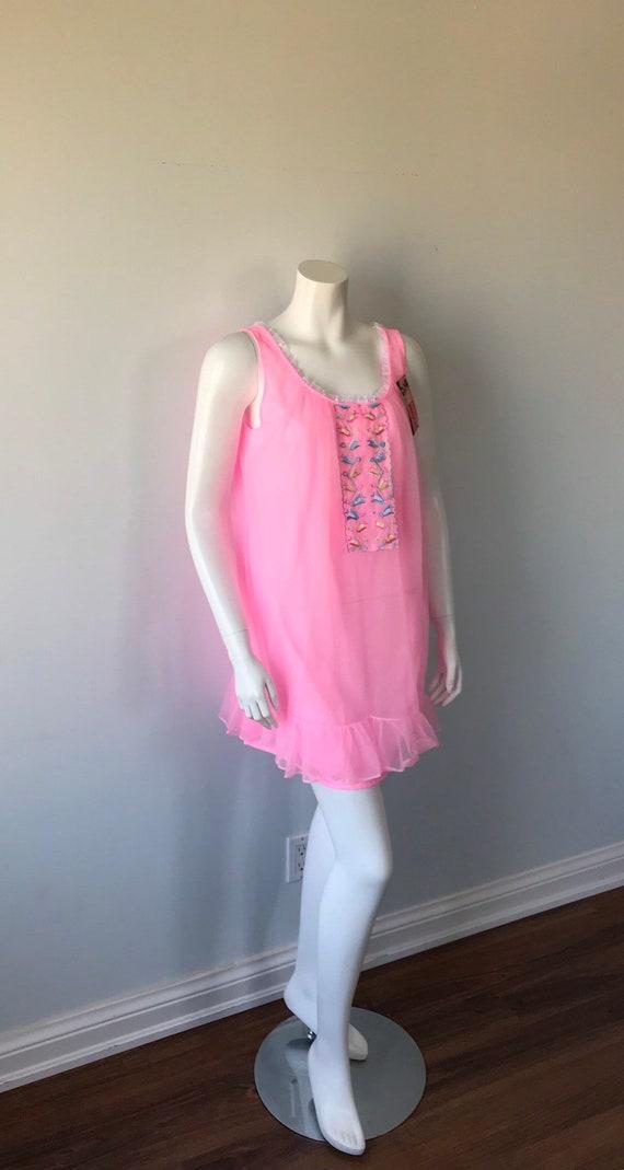 Vintage Pink Chiffon Nightgown, Hamilton Lingerie… - image 5