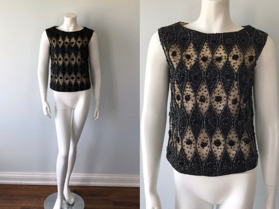 Vintage Black Sequin Beaded Top, Black Sequin and