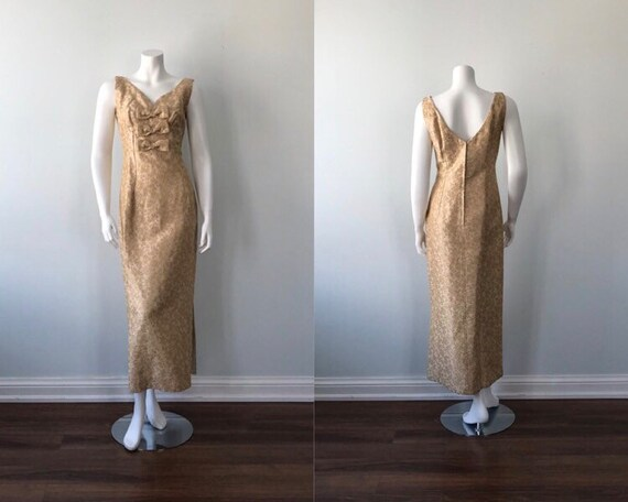 Vintage Cream And Gold Brocade Evening Gown, 1960s